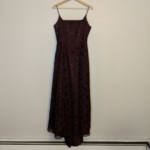 Vintage Burgundy and Black Formal Gown